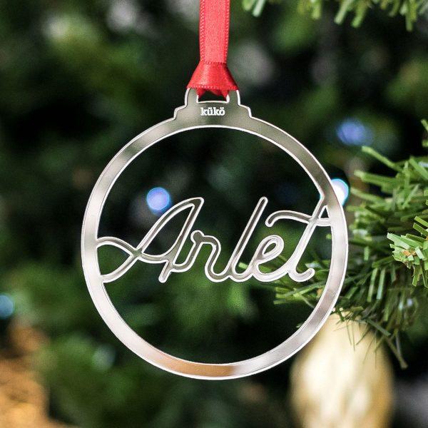Bola de Navidad silueta espejo personalizada con nombres (circular)