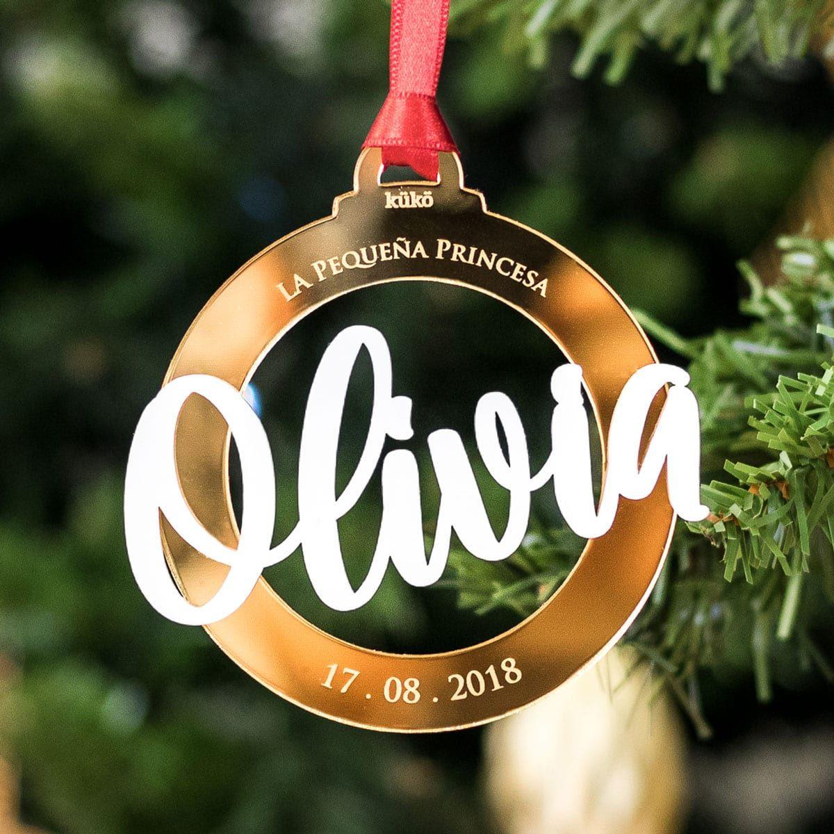 Bola de Navidad personalizada con nombre y fecha de nacimiento
