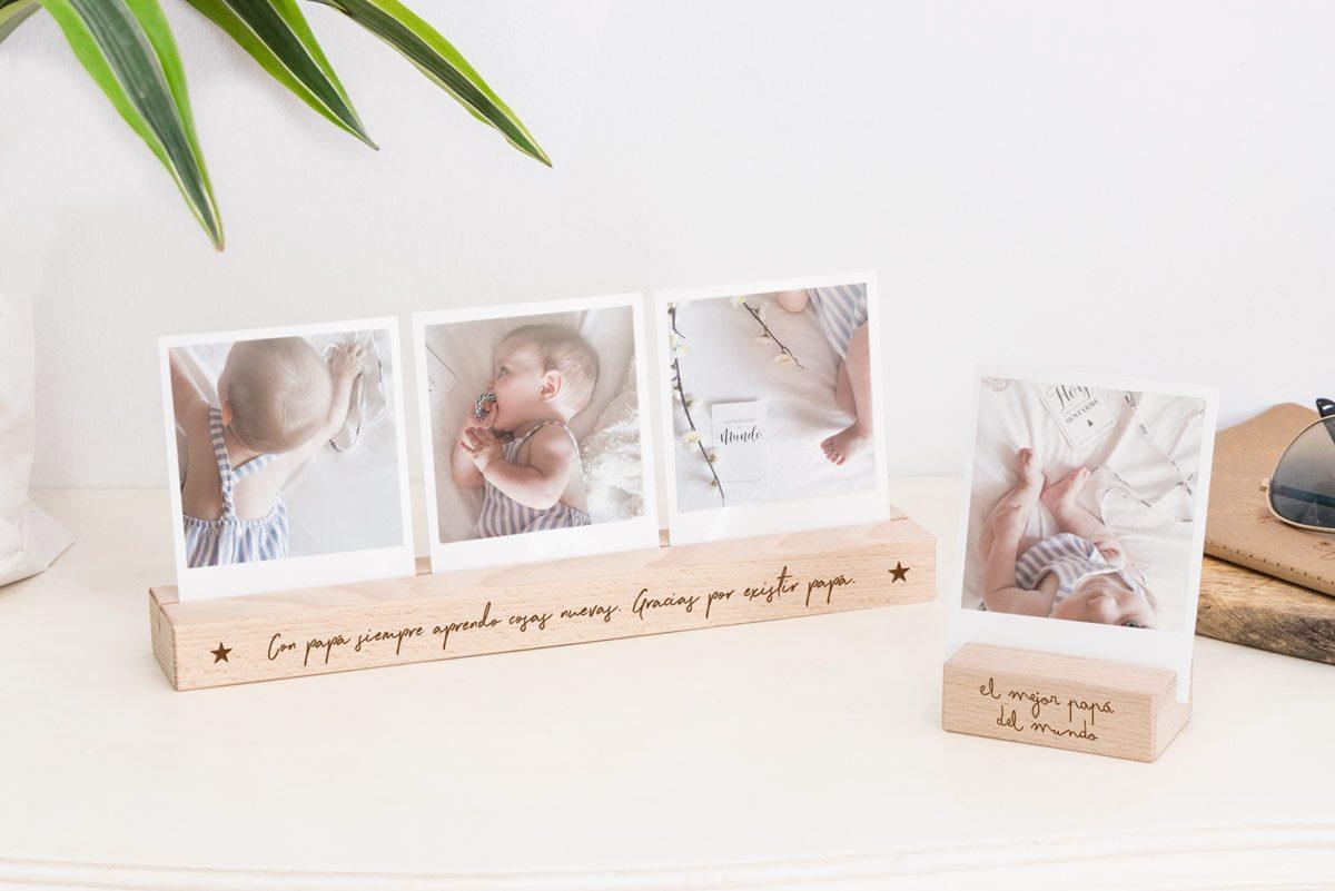 Base de fotos personalizable de madera de Haya maziza. Distintos tamaños para escoger.
