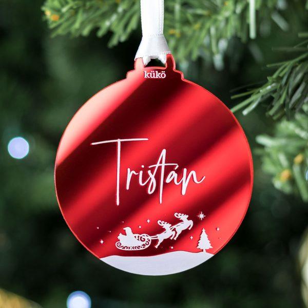 Adorno de Navidad en forma de bola para colgar personalizado con nombre (color rojo)