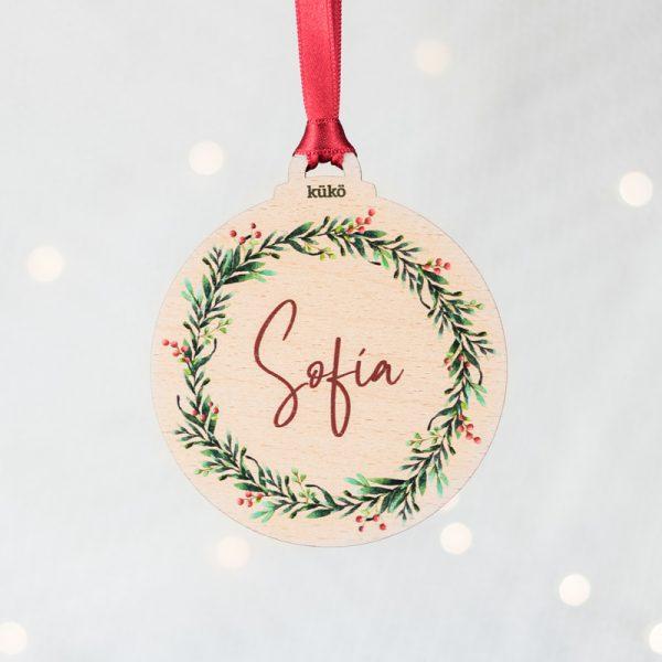 Bola de Navidad de madera para colgar, personalizada con nombre.