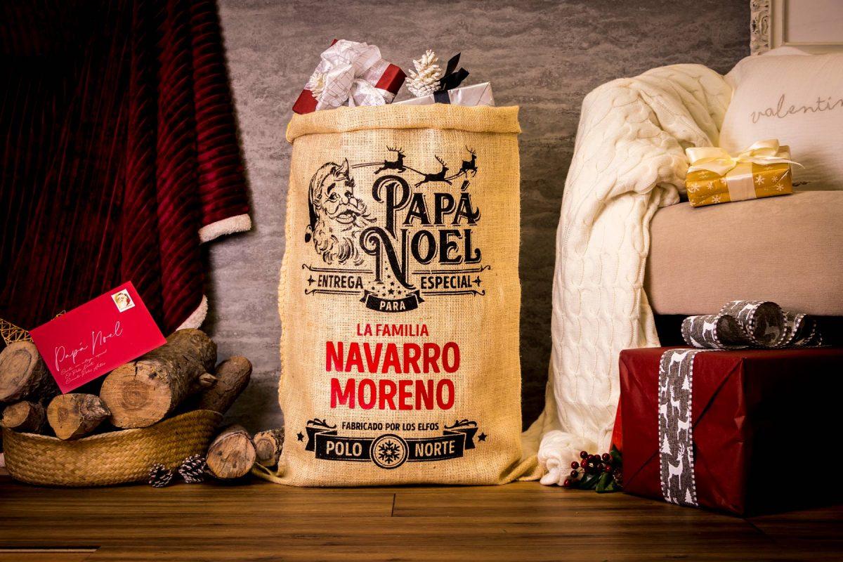 Saco de papá Noel de alta calidad y acabados reforzados personalizable con nombre.
